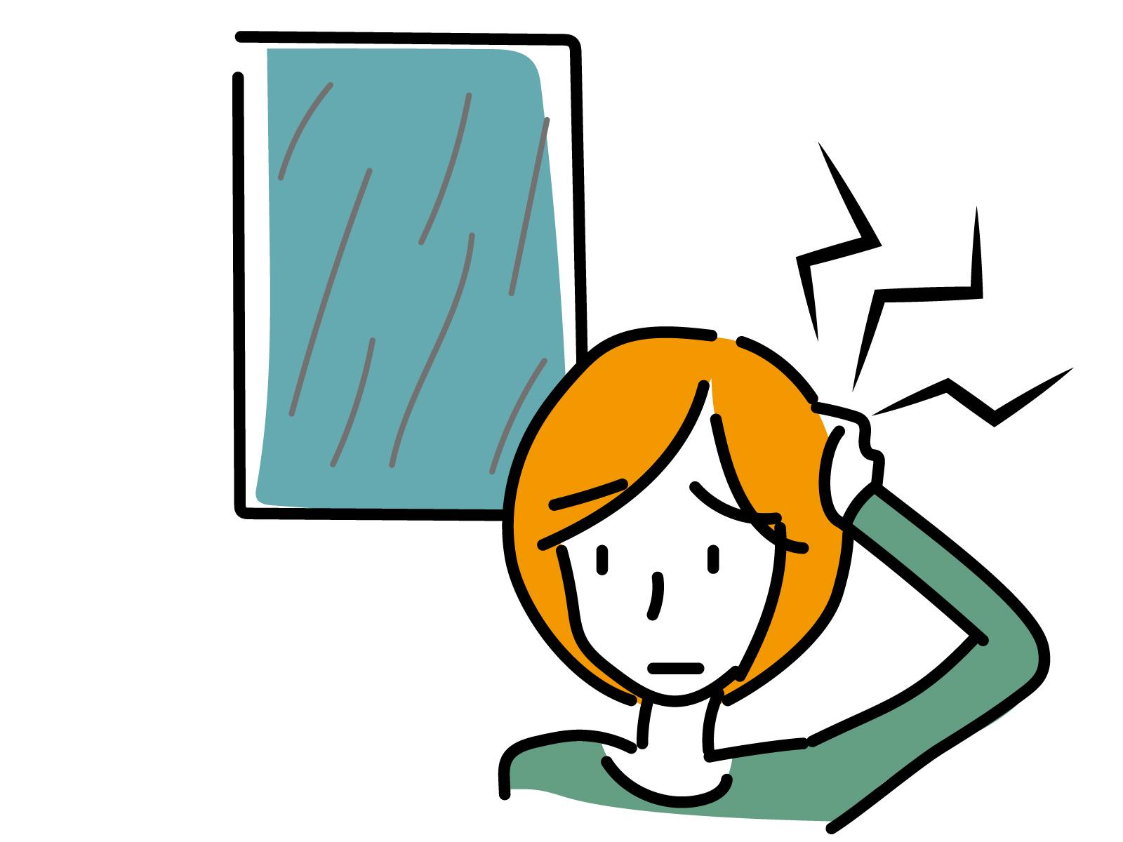 天気による頭痛がある女性のイラスト